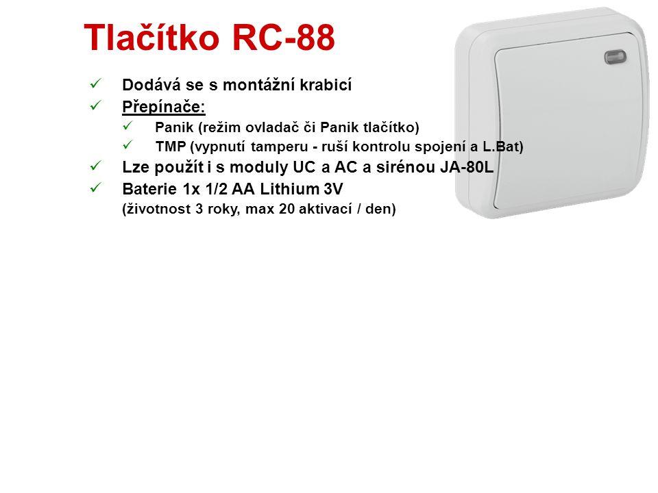 Klíčenka RC-80  Dodává se se 2 pasty (2 nebo 4 tlačítka)  Funkce uzamknutí kláves (jen pro 4 tl.)  Lze též použít s moduly UC a AC  Kompatibilní s