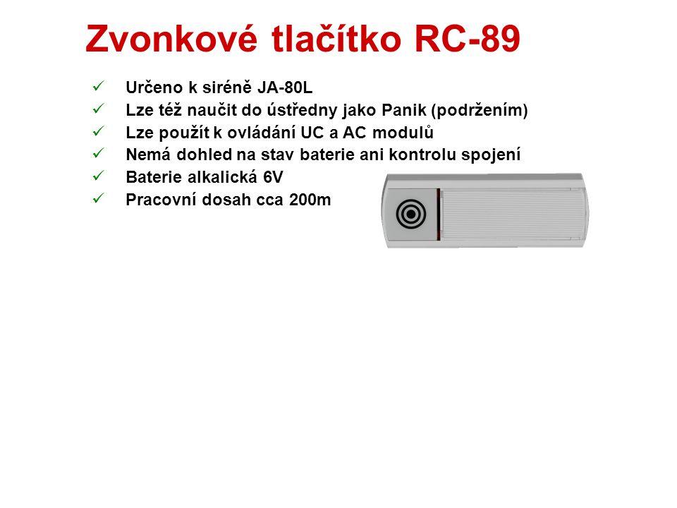 Tlačítko RC-88  Dodává se s montážní krabicí  Přepínače:  Panik (režim ovladač či Panik tlačítko)  TMP (vypnutí tamperu - ruší kontrolu spojení a