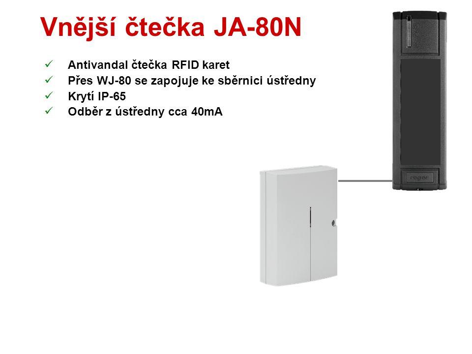 Vnější klávesnice JA-80H  Antivandal klávesnice a čtečka RFID karet  Přes WJ-80 se zapojuje ke sběrnici ústředny  Zvonkové tlačítko  Krytí IP-65 