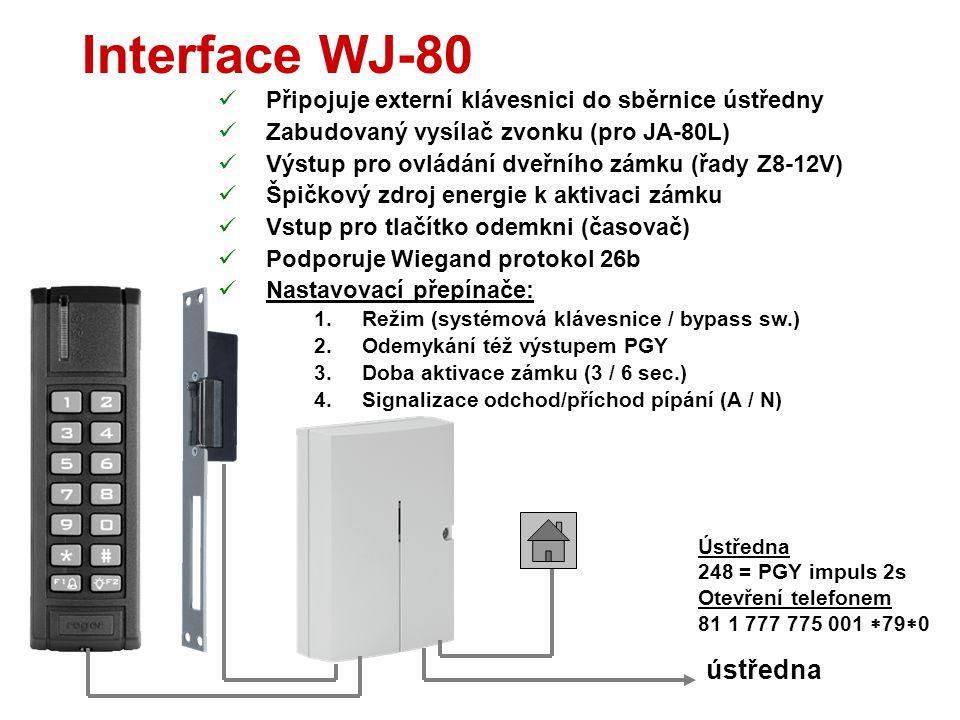 Vnější čtečka JA-80N  Antivandal čtečka RFID karet  Přes WJ-80 se zapojuje ke sběrnici ústředny  Krytí IP-65  Odběr z ústředny cca 40mA