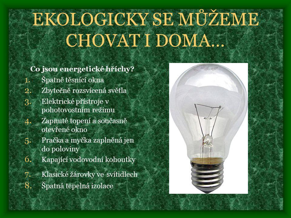 EKOLOGICKY SE MŮŽEME CHOVAT I DOMA… Co jsou energetické hříchy.