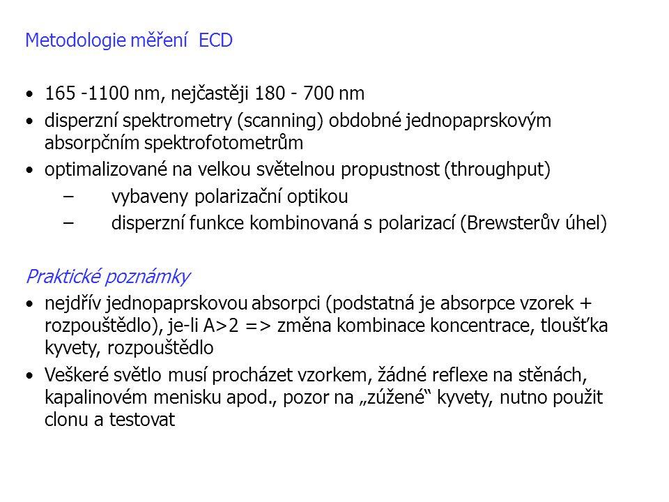 Metodologie měření ECD •165 -1100 nm, nejčastěji 180 - 700 nm •disperzní spektrometry (scanning) obdobné jednopaprskovým absorpčním spektrofotometrům
