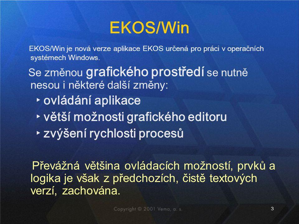 3 EKOS/Win EKOS/Win je nová verze aplikace EKOS určená pro práci v operačních systémech Windows.