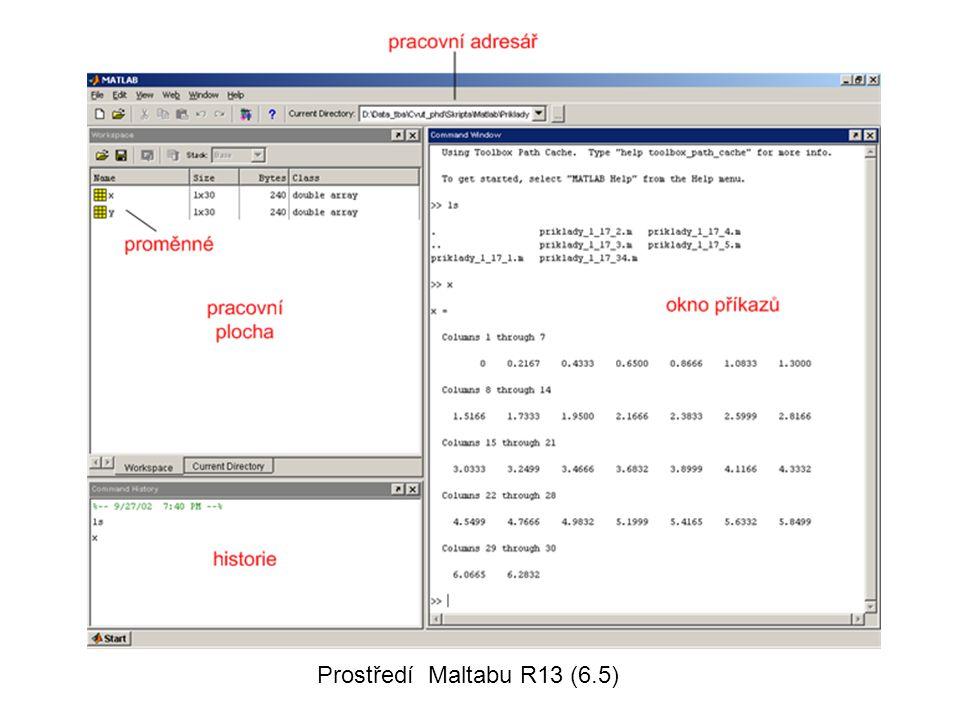 Command window, proměnné •ENTER – provedení operace •ans je vnitřní proměnná Matlabu = answer •; ukončený příkaz - bez výpisu výsledku do příkazového okna •Ctrl+C zastavení vykonávaného příkazu •Proměnné Matlabu –Komplexní matice –Řetězec znaků •Proměnné není třeba deklarovat •Příkazy: –who …vypíše seznam proměnných –whos..seznam proměnných s podrobnostmi