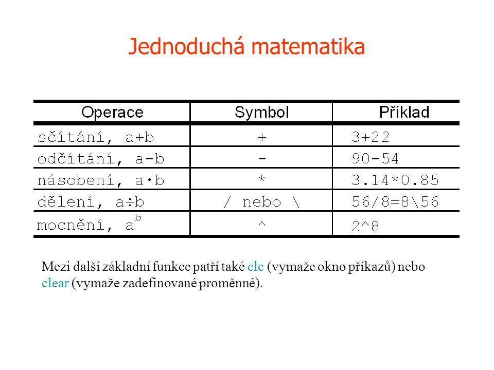 det- determinant matice inv- inverze matice '- operátor transpozice (apostrof).'- transpozice prvek po prvku (sdružená transpozice, rozdílná od transpozice v komplexních číslech) sqrtm- maticová odmocnina expm- maticová exponenciála logm- logaritmus matice poly- charakteristický polynom size- rozměry matice roots- vlastní čísla charakteristického polynomu max- maximální prvek matice diag- diagonála matice Operace s maticemi 2