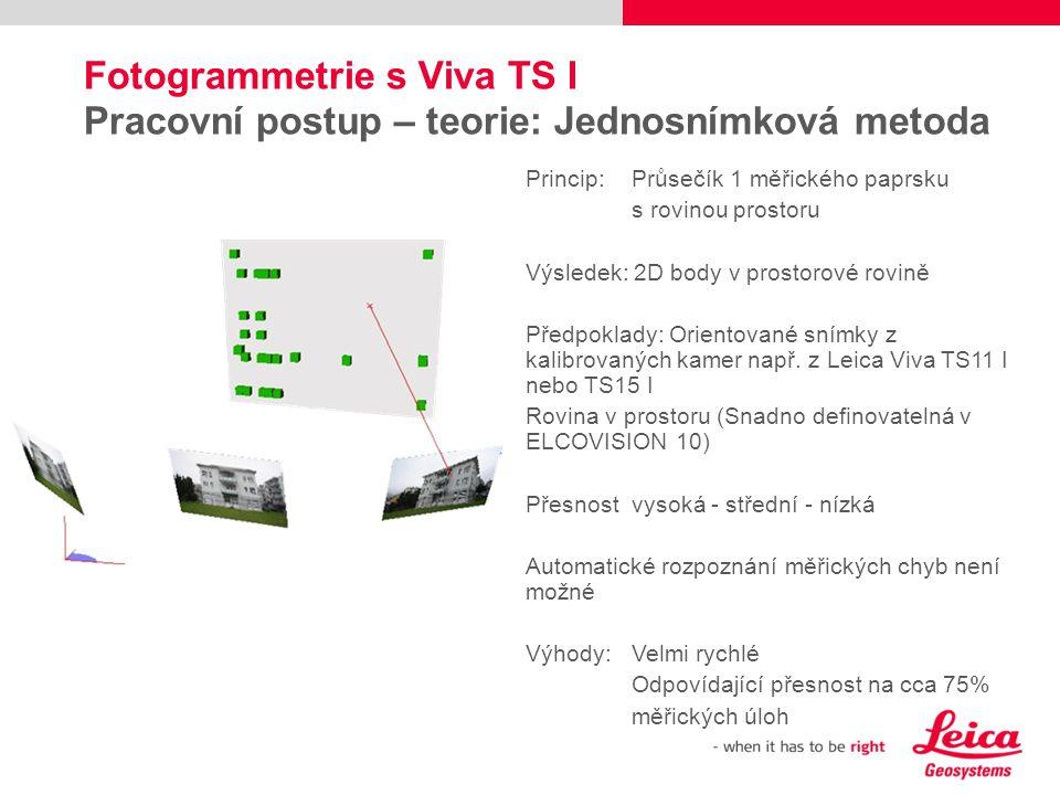Fotogrammetrie s Viva TS I Pracovní postup – teorie: Jednosnímková metoda Princip:Průsečík 1 měřického paprsku s rovinou prostoru Výsledek: 2D body v