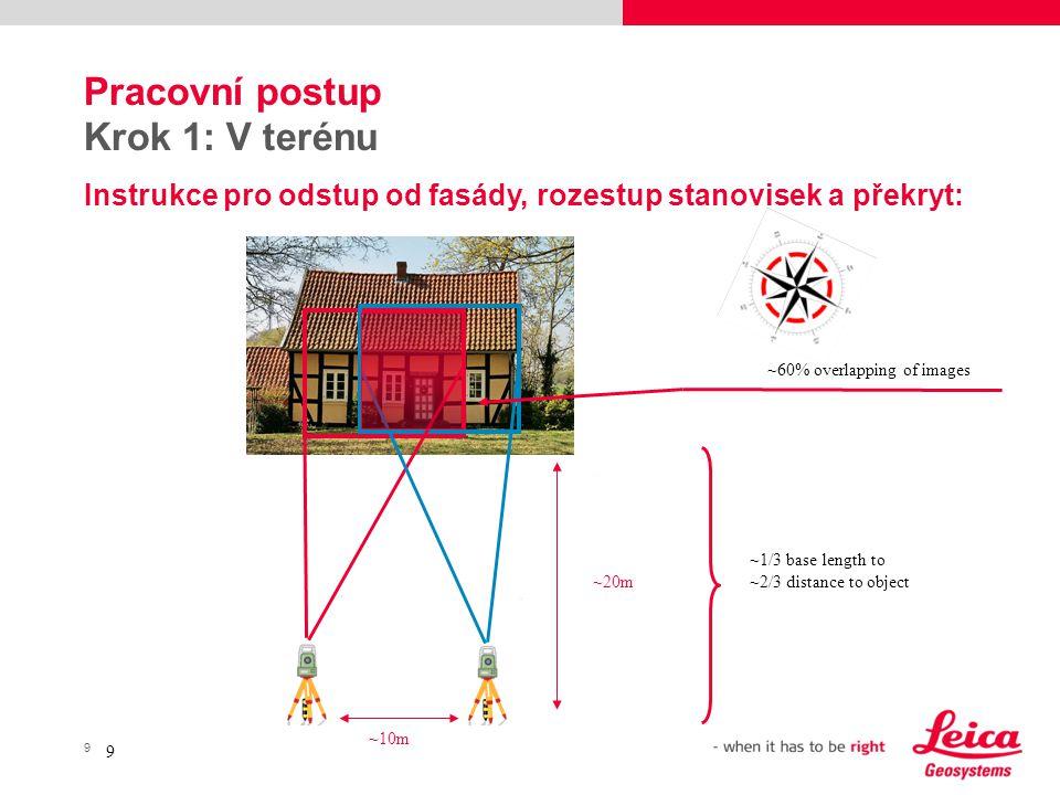 9 9 Pracovní postup Krok 1: V terénu Instrukce pro odstup od fasády, rozestup stanovisek a překryt: ~10m ~20m ~60% overlapping of images ~1/3 base len