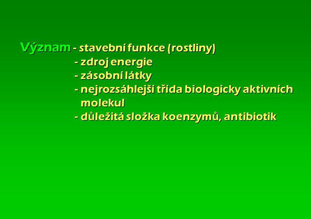 Vznik - fotosyntézou 6 CO2 + 12 H2O + 2 830 kJ C6H12O6 + 6 O2 + 6 H2O 2 C6H12O6 C12H22O11 + H2O n C6H12O6 (C6H10O5)n + (n-1) H2O - glukoneogenezí - me