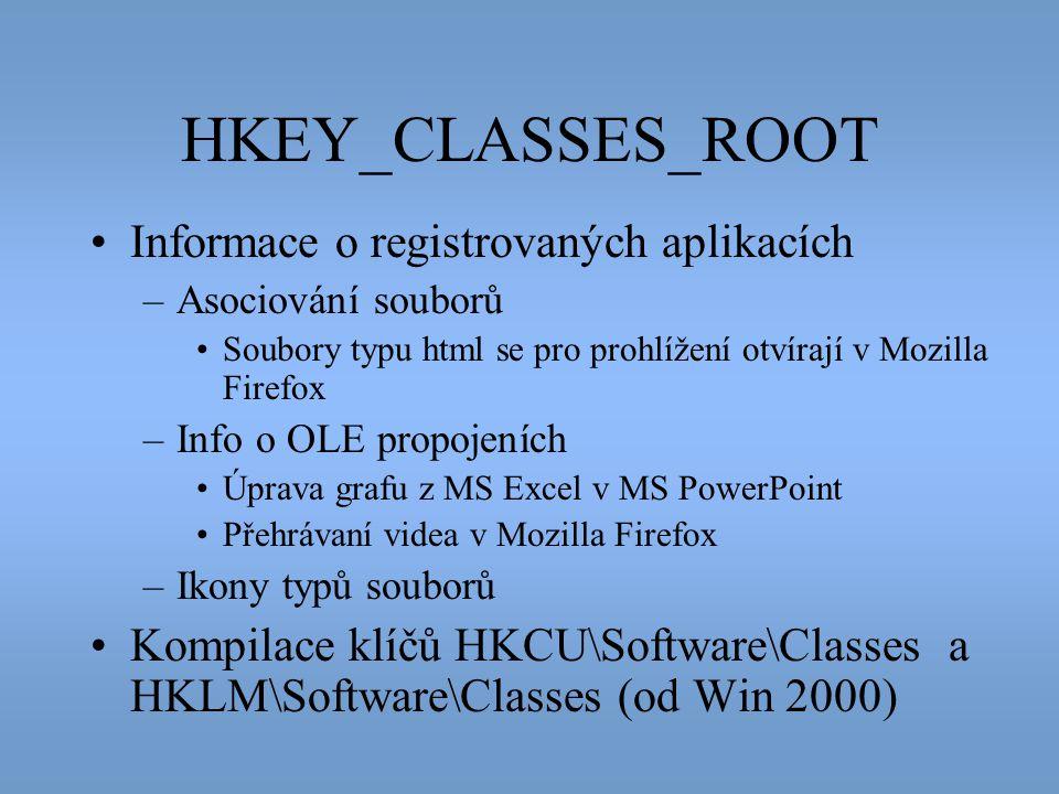 HKEY_CLASSES_ROOT •Informace o registrovaných aplikacích –Asociování souborů •Soubory typu html se pro prohlížení otvírají v Mozilla Firefox –Info o O