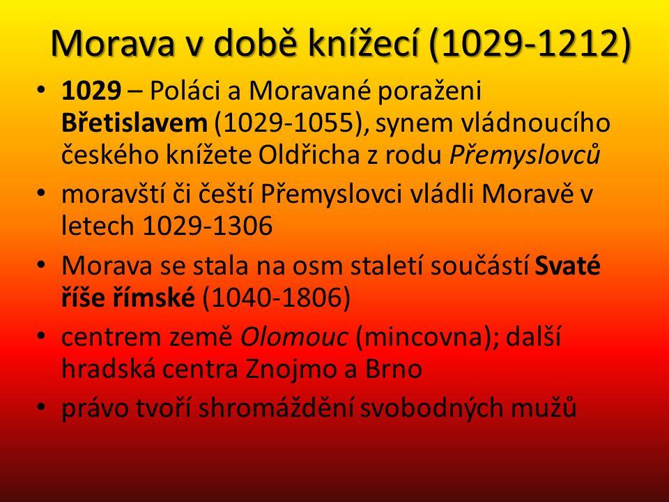 Morava v době knížecí (1029-1212) • 1029 – Poláci a Moravané poraženi Břetislavem (1029-1055), synem vládnoucího českého knížete Oldřicha z rodu Přemy