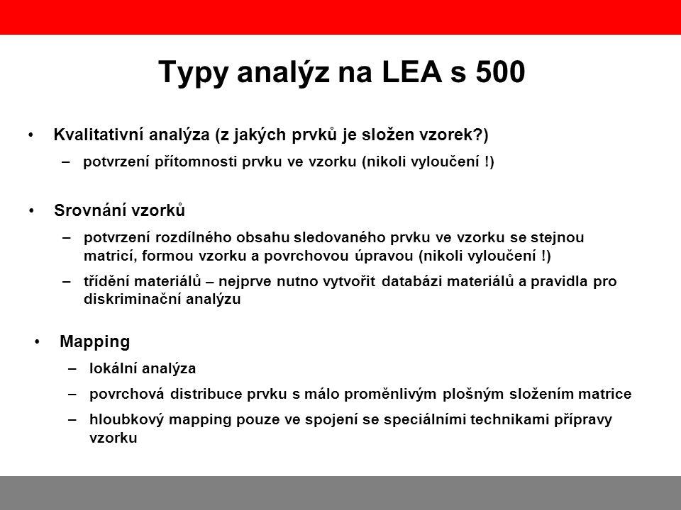 Typy analýz na LEA s 500 •Kvalitativní analýza (z jakých prvků je složen vzorek?) –potvrzení přítomnosti prvku ve vzorku (nikoli vyloučení !) •Srovn