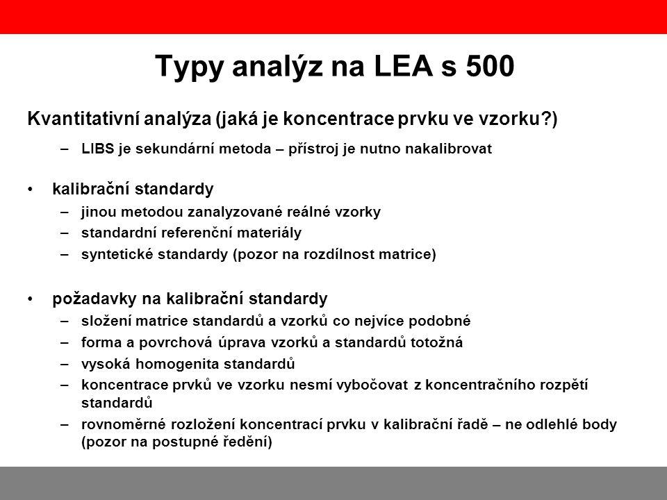 Typy analýz na LEA s 500 Kvantitativní analýza (jaká je koncentrace prvku ve vzorku?) –LIBS je sekundární metoda – přístroj je nutno nakalibrovat •ka