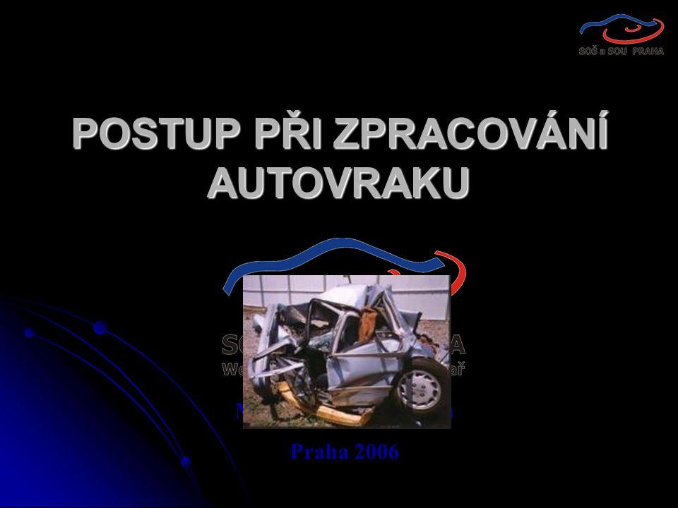 POSTUP PŘI ZPRACOVÁNÍ AUTOVRAKU Mgr. Milena Marešová Praha 2006