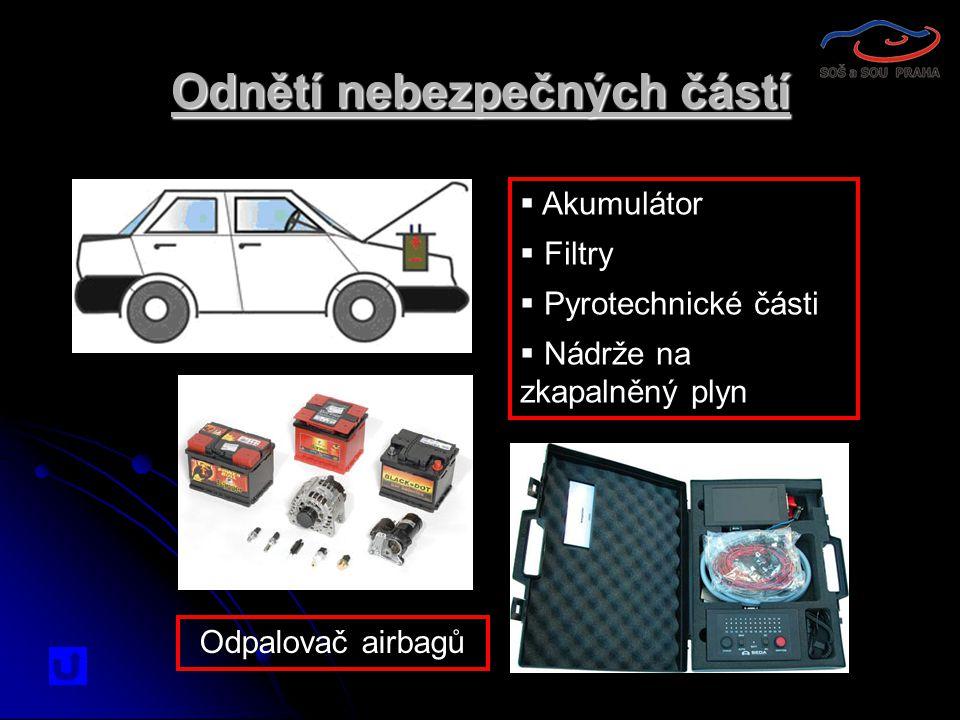  Akumulátor  Filtry  Pyrotechnické části  Nádrže na zkapalněný plyn Odnětí nebezpečných částí Odpalovač airbagů