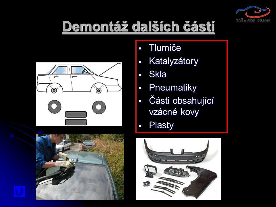 Demontáž dalších částí  Tlumiče  Katalyzátory  Skla  Pneumatiky  Části obsahující vzácné kovy  Plasty