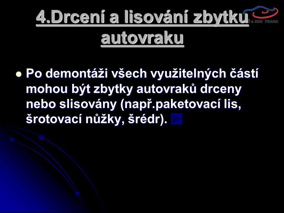 4.Drcení a lisování zbytku autovraku  Po demontáži všech využitelných částí mohou být zbytky autovraků drceny nebo slisovány (např.paketovací lis, šr