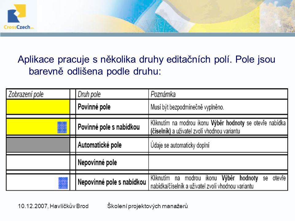10.12.2007, Havlíčkův BrodŠkolení projektových manažerů Aplikace pracuje s několika druhy editačních polí. Pole jsou barevně odlišena podle druhu: