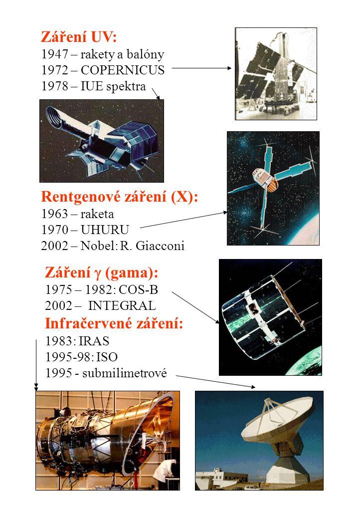 Záření UV: 1947 – rakety a balóny 1972 – COPERNICUS 1978 – IUE spektra Rentgenové záření (X): 1963 – raketa 1970 – UHURU 2002 – Nobel: R. Giacconi Zář