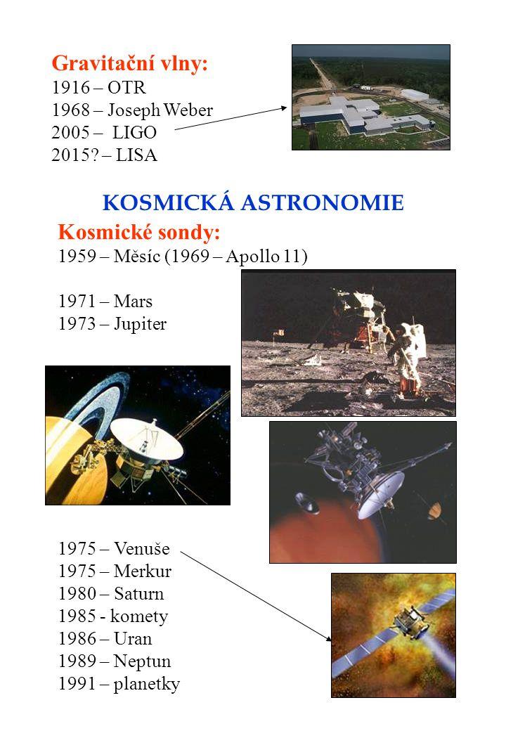 Gravitační vlny: 1916 – OTR 1968 – Joseph Weber 2005 – LIGO 2015? – LISA KOSMICKÁ ASTRONOMIE Kosmické sondy: 1959 – Měsíc (1969 – Apollo 11) 1971 – Ma