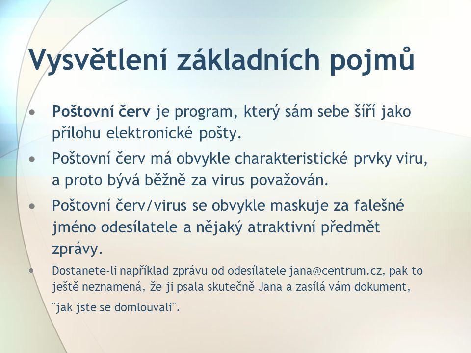 Vysvětlení základních pojmů  Poštovní červ je program, který sám sebe šíří jako přílohu elektronické pošty.  Poštovní červ má obvykle charakteristic
