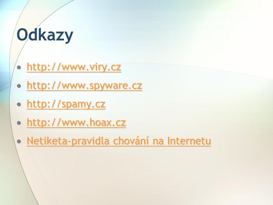 Odkazy  http://www.viry.cz http://www.viry.cz  http://www.spyware.cz http://www.spyware.cz  http://spamy.cz http://spamy.cz  http://www.hoax.cz ht