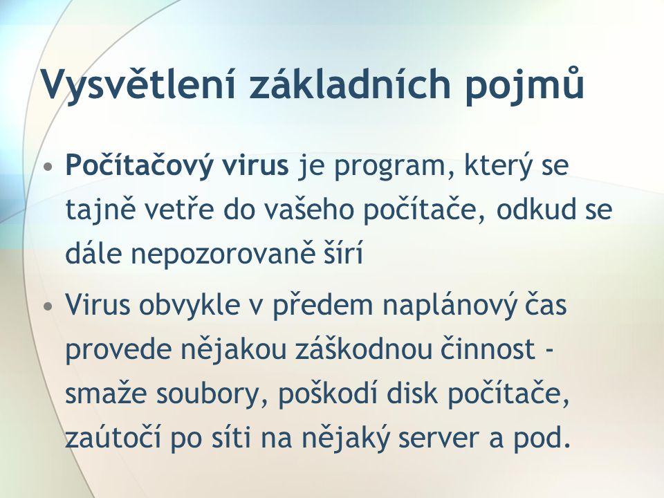 Jak se viry šíří •Spustitelné soubory – vir se při spuštění nahraje do paměti a po té se šíří a ničí(-.EXE,.COM,.BAT,.SYS) •Dokumenty – vir je uložen přímo v dokumentu jako makrovir •Elektronická pošta(e-mail) – samospustitelná příloha e- mailu •Systémové oblasti – cílem virů - BOOT sektor nebo PARTITION tabulka, kam nemá uživatel přístup a slouží pouze systému