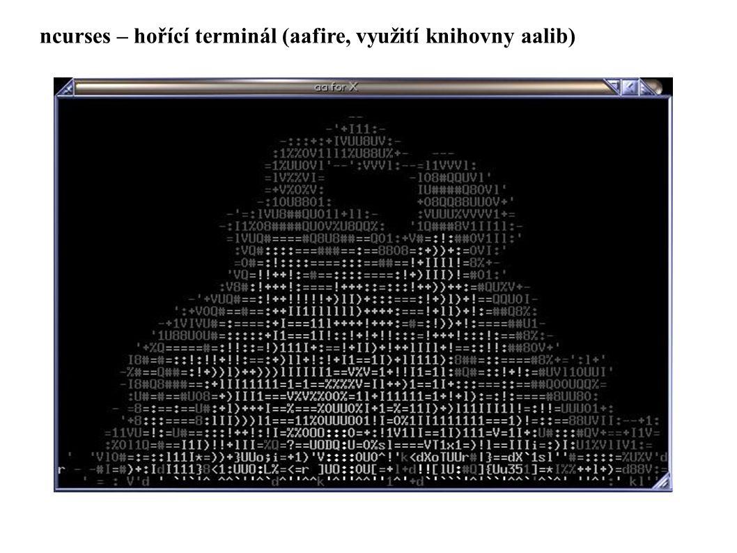 ncurses – hořící terminál (aafire, využití knihovny aalib)