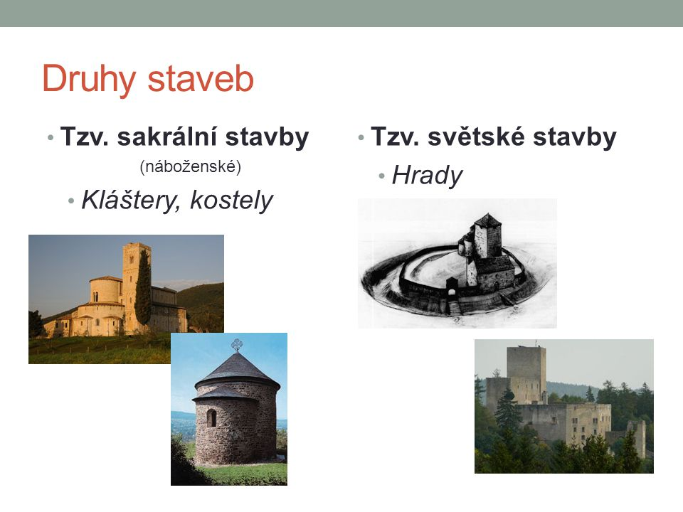 Druhy staveb • Tzv. sakrální stavby (náboženské) • Kláštery, kostely • Tzv. světské stavby • Hrady