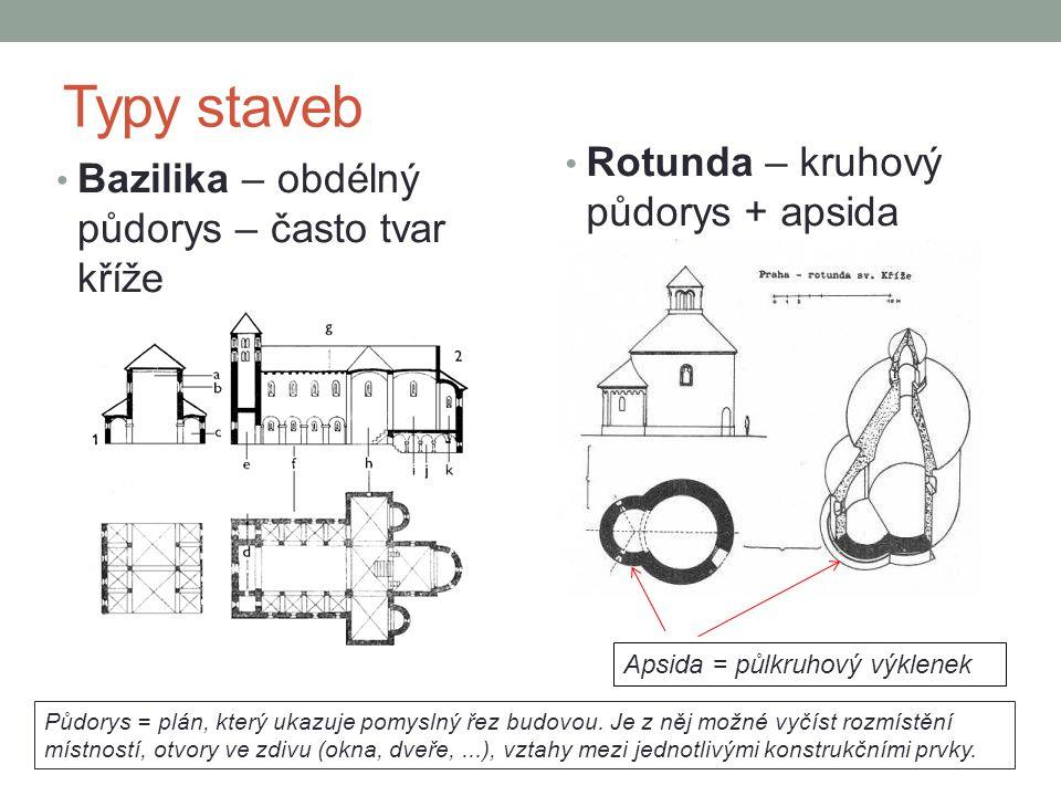 Typy staveb • Bazilika – obdélný půdorys – často tvar kříže • Rotunda – kruhový půdorys + apsida Apsida = půlkruhový výklenek Půdorys = plán, který uk