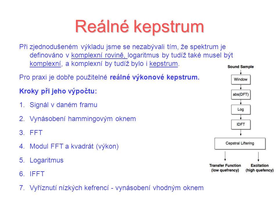 Reálné kepstrum Při zjednodušeném výkladu jsme se nezabývali tím, že spektrum je definováno v komplexní rovině, logaritmus by tudíž také musel být komplexní, a komplexní by tudíž bylo i kepstrum.