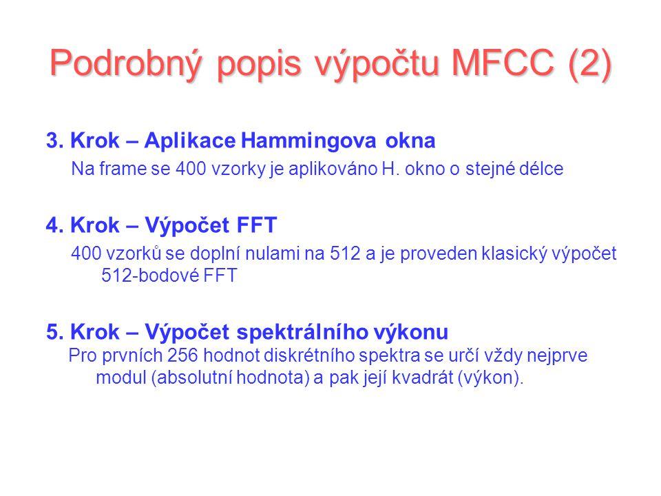 Podrobný popis výpočtu MFCC (2) 3. Krok – Aplikace Hammingova okna Na frame se 400 vzorky je aplikováno H. okno o stejné délce 4. Krok – Výpočet FFT 4