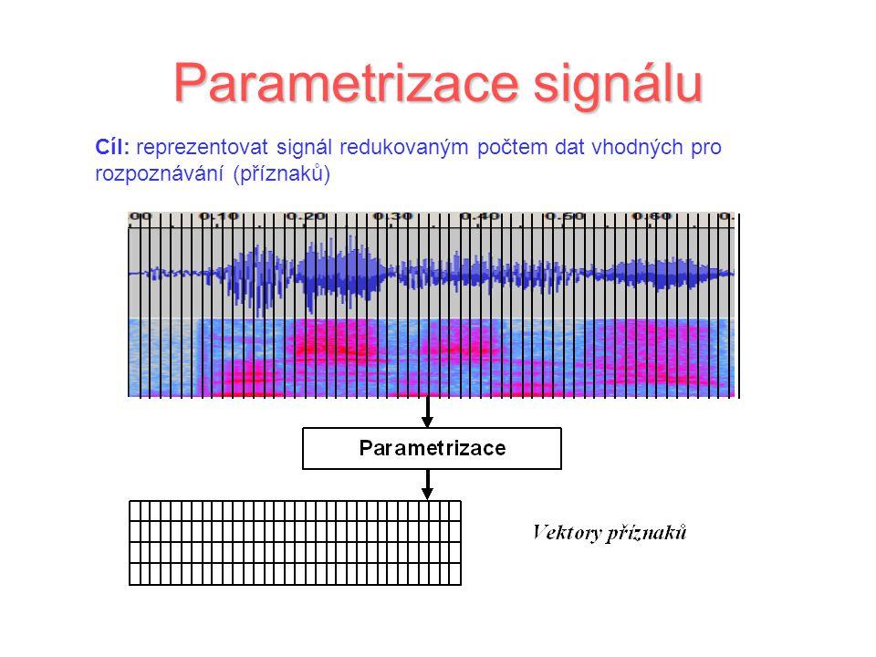 Parametrizace signálu Cíl: reprezentovat signál redukovaným počtem dat vhodných pro rozpoznávání (příznaků)
