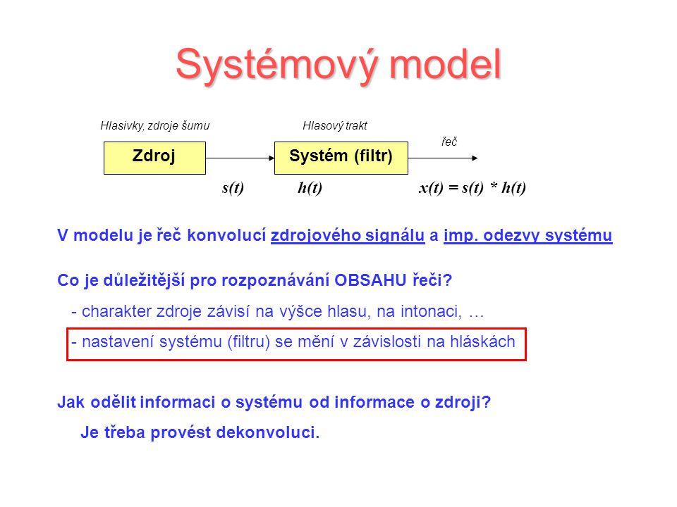 Systémový model V modelu je řeč konvolucí zdrojového signálu a imp. odezvy systému Systém (filtr) Hlasový trakt Zdroj Hlasivky, zdroje šumu s(t) h(t)