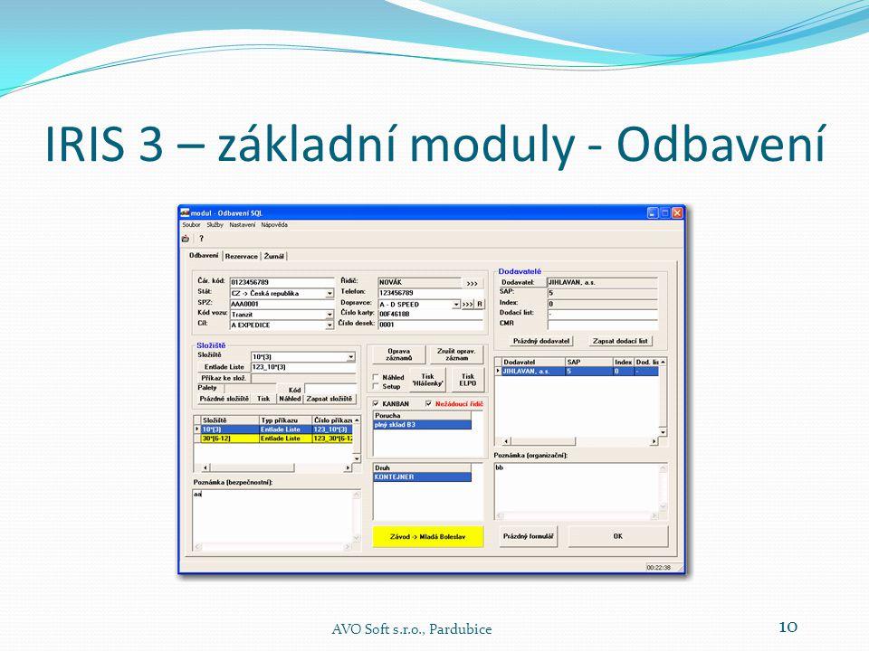 IRIS 3 – základní moduly - Odbavení  Hlavní činností modulu Odbavení je záznam času registrace v tomto modulu a dále pak záznam dalších informací a činností.