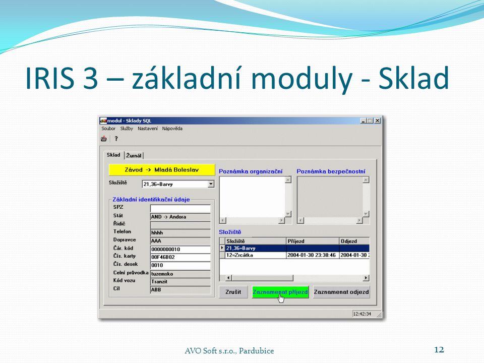 IRIS 3 – základní moduly - Sklad  Modul je určen k nasazení na skladových složištích, která jsou vybavena přípojkou počítačové sítě.