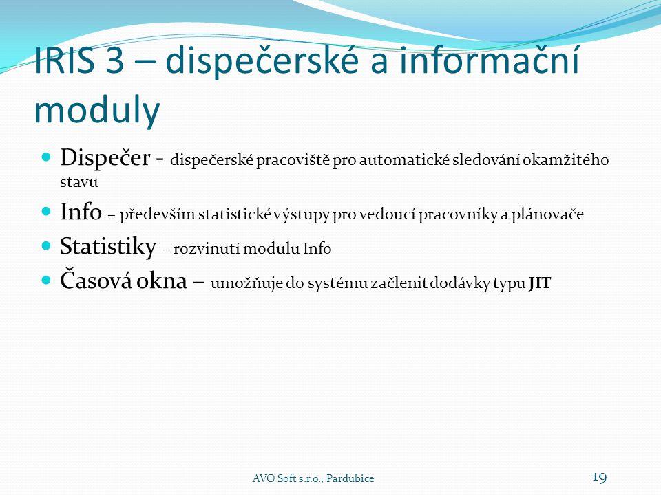 IRIS 3 – základní moduly - Odjezd AVO Soft s.r.o., Pardubice 18