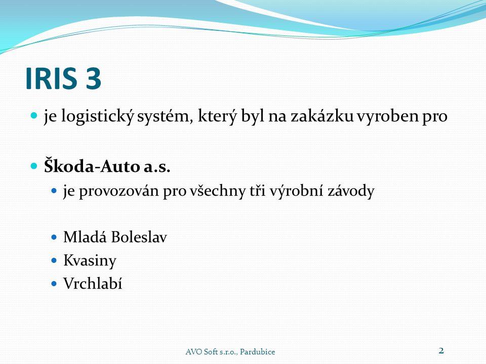 IRIS 3 Logistický systém pro výrobní závody AVO Soft s.r.o., Pardubice 1