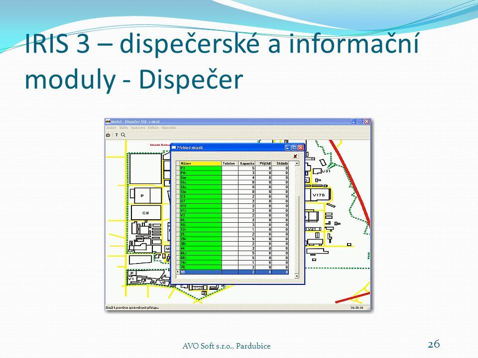 IRIS 3 – dispečerské a informační moduly - Dispečer  Doplňkový režim zobrazení představuje tabulkové zobrazení karet jednotlivých složišť a parkoviště.