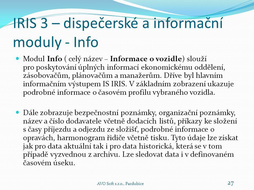 IRIS 3 – dispečerské a informační moduly - Dispečer AVO Soft s.r.o., Pardubice 26