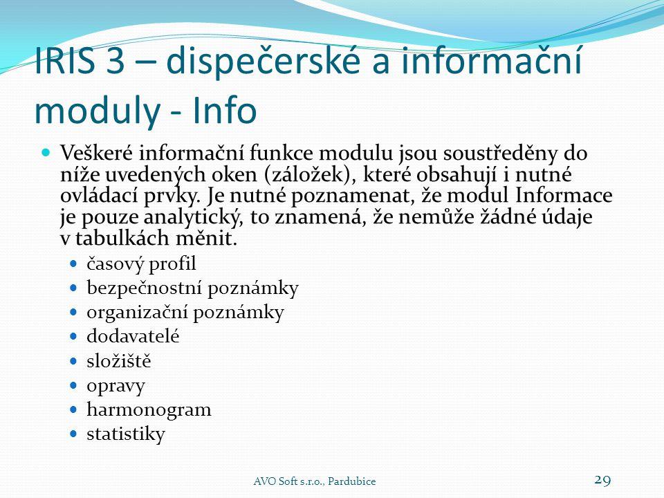 IRIS 3 – dispečerské a informační moduly - Info  Důležitou funkcí modulu informace je zobrazování statistických údajů.