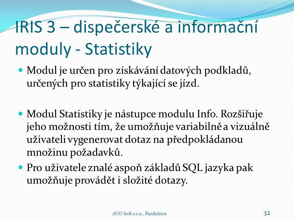 IRIS 3 – dispečerské a informační moduly - Info AVO Soft s.r.o., Pardubice 31