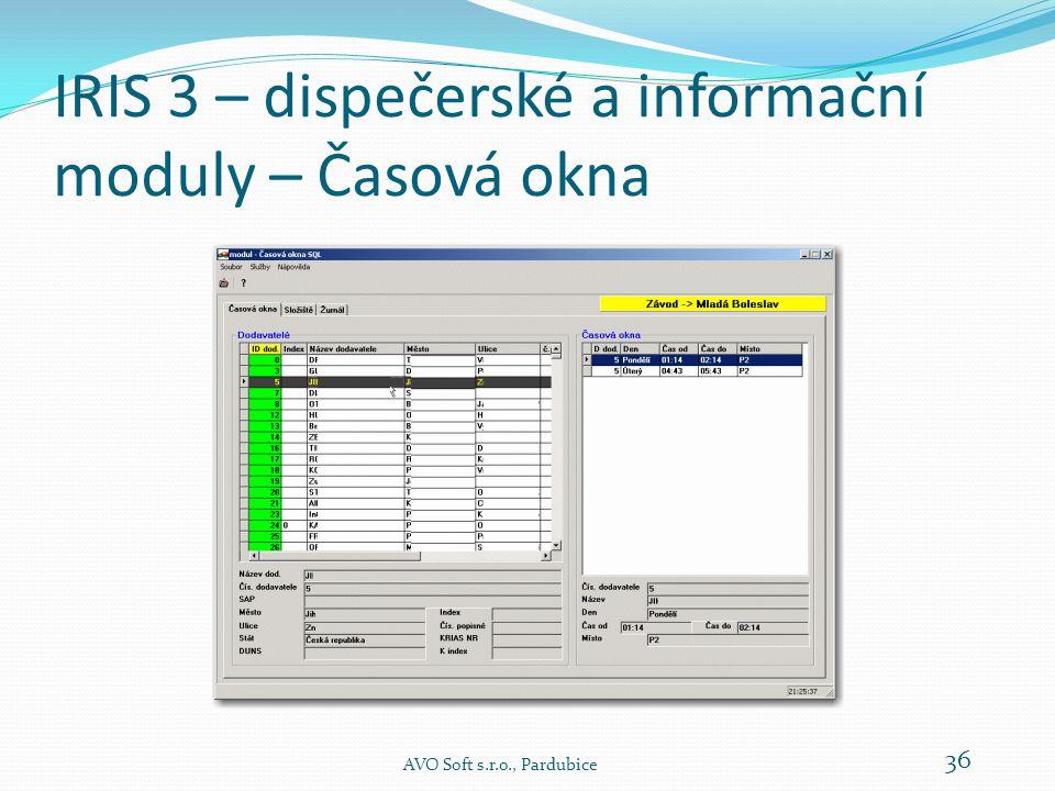 IRIS 3 – dispečerské a informační moduly – Časová okna Modul Časová okna je určen k práci s  časovými okny  složišti  časovými limity  texty  druhy jízd  hesly (správa hesel) AVO Soft s.r.o., Pardubice 35