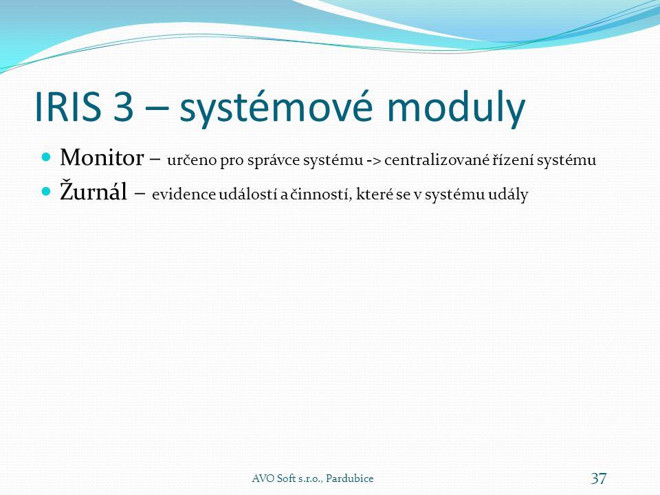 IRIS 3 – dispečerské a informační moduly – Časová okna AVO Soft s.r.o., Pardubice 36