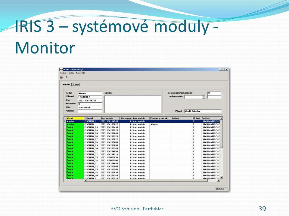IRIS 3 – systémové moduly - Monitor Modul Monitor je základním nástrojem správy informačního systému a je určena pro správce systému.
