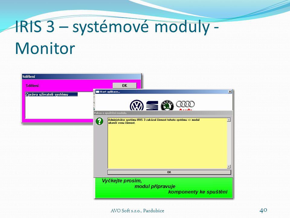 IRIS 3 – systémové moduly - Monitor AVO Soft s.r.o., Pardubice 39