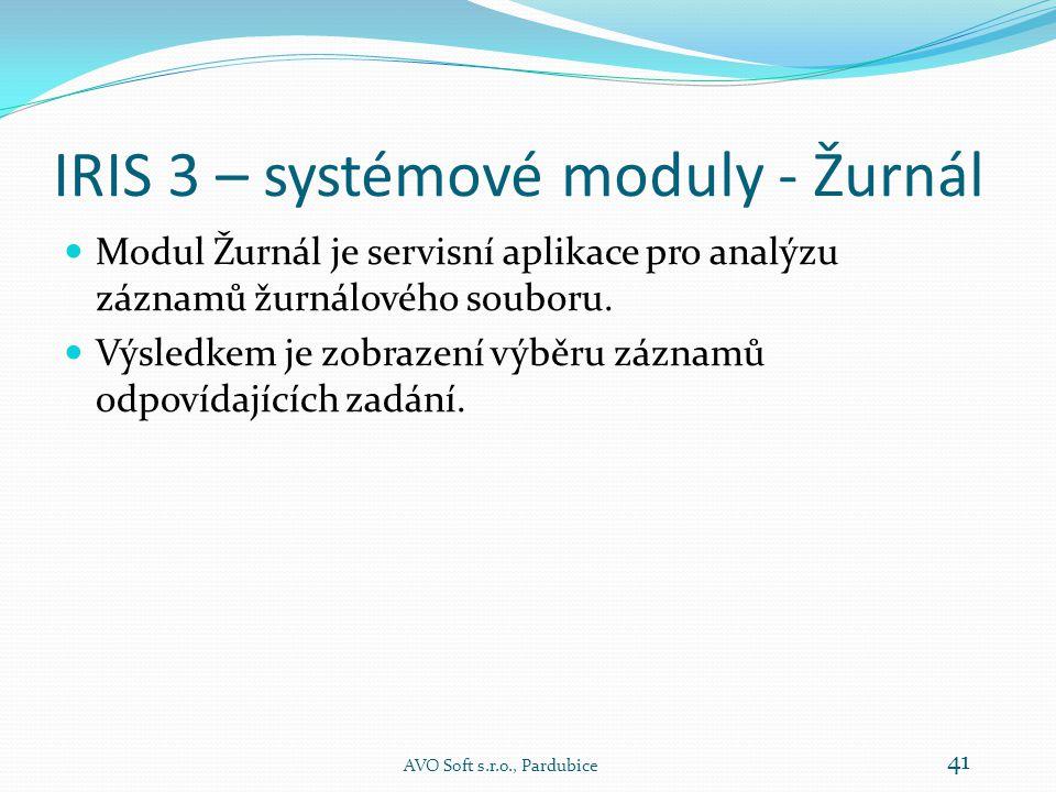 IRIS 3 – systémové moduly - Monitor AVO Soft s.r.o., Pardubice 40
