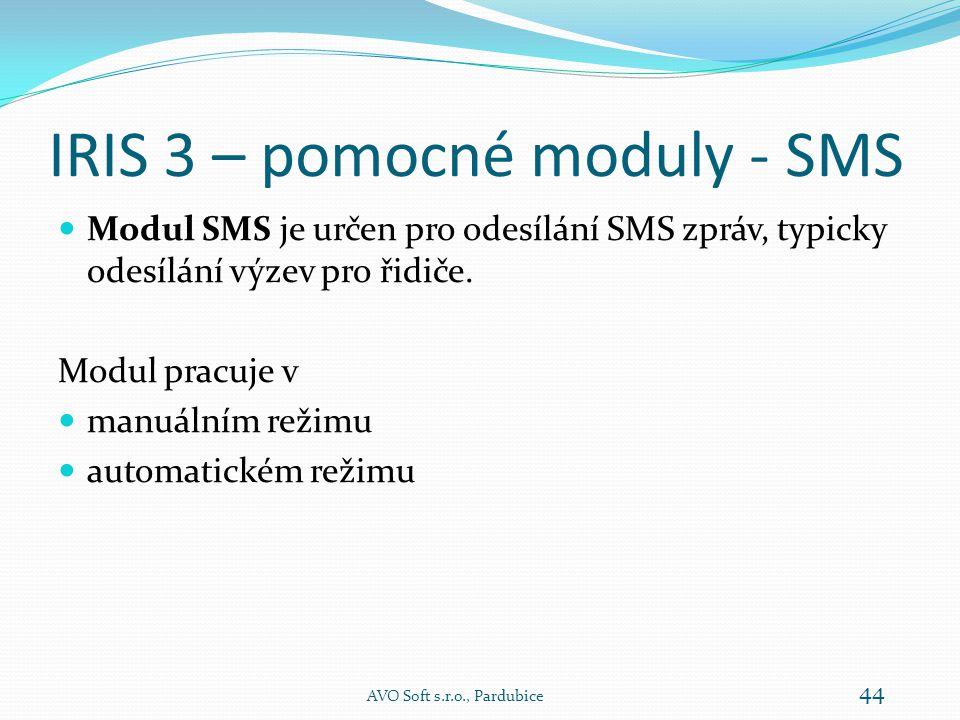 IRIS 3 – pomocné moduly  SMS - určen pro odesílání SMS zpráv  Text - vizuálně upozorňuje na výzvy – ovládání informačních tabulí AVO Soft s.r.o., Pardubice 43