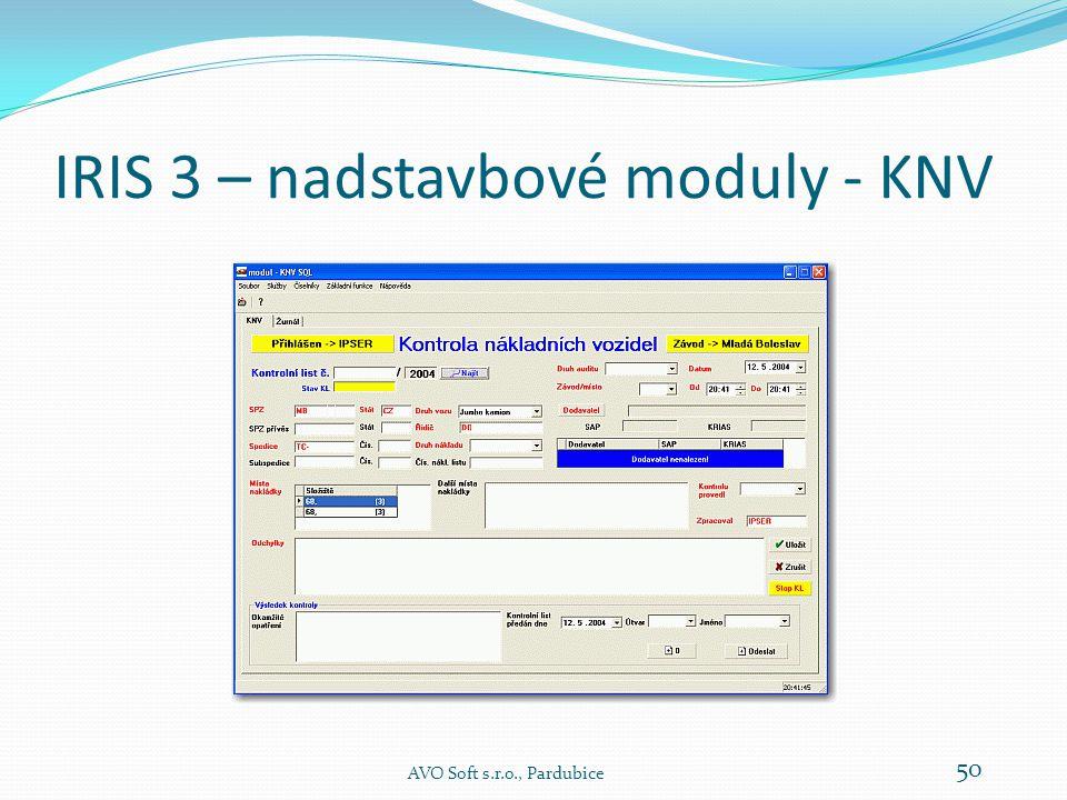 IRIS 3 – nadstavbové moduly - KNV Modul KNV je určen k řízení a evidenci kontrolní činnosti v závodě.