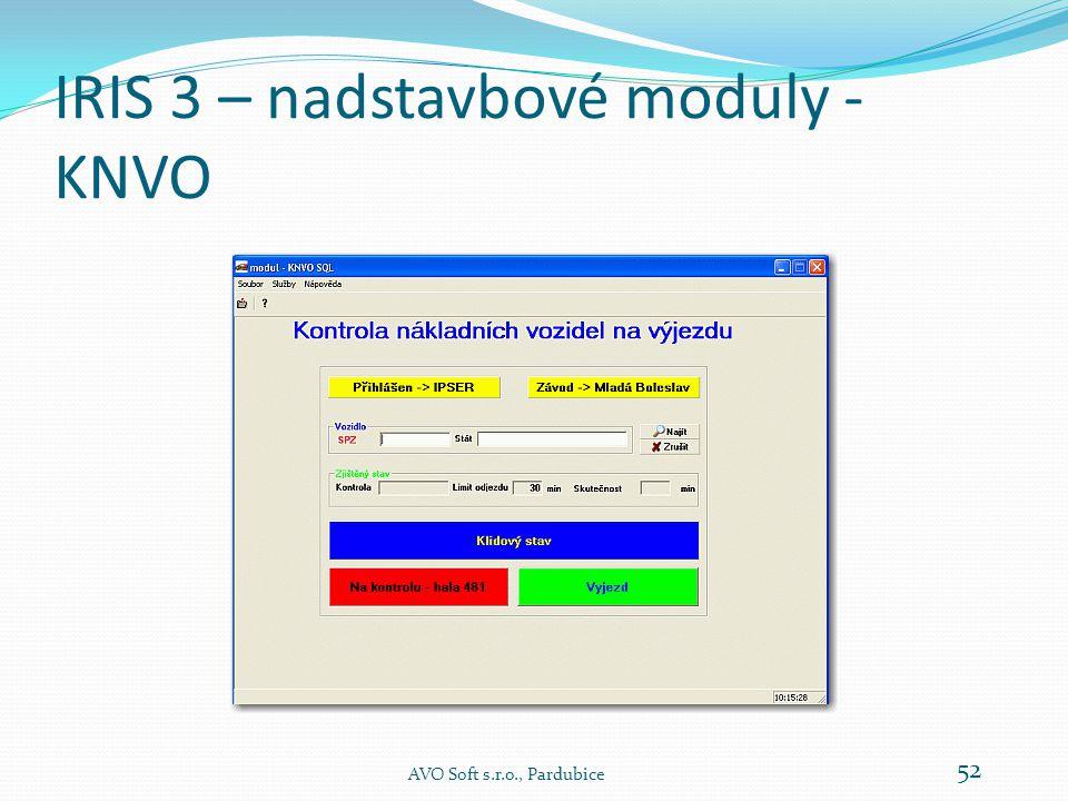 IRIS 3 – nadstavbové moduly - KNVO KNVO znamená Kontrola NV - Odjezd .