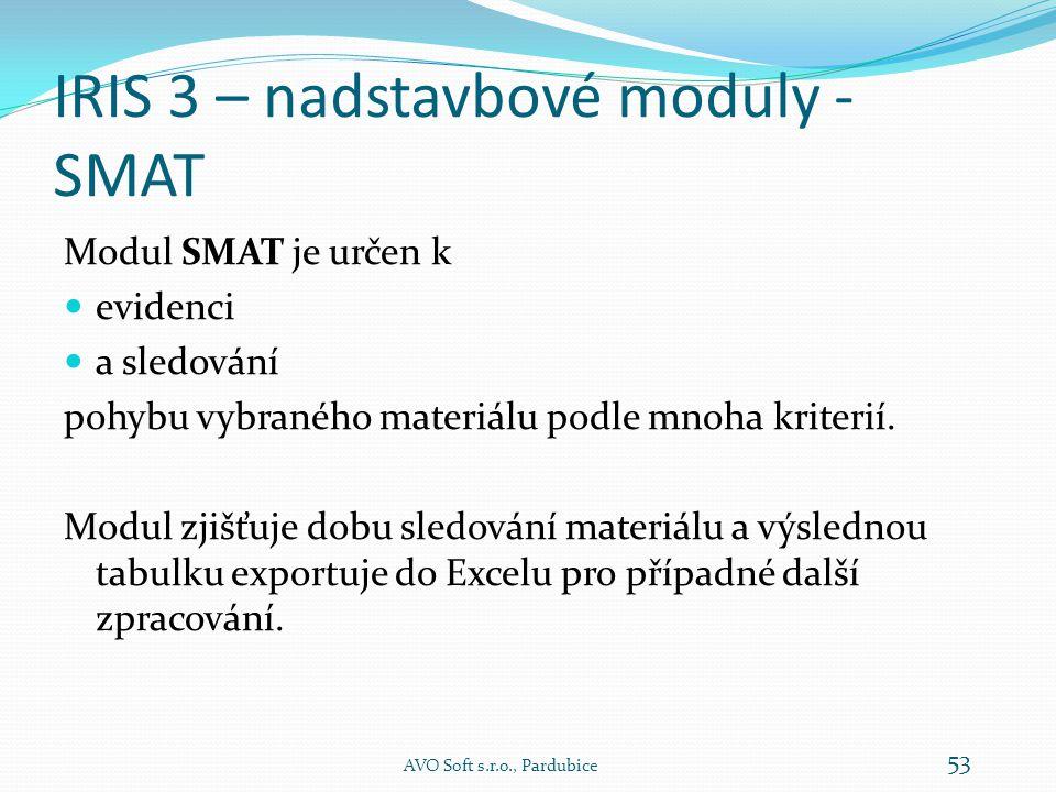 IRIS 3 – nadstavbové moduly - KNVO AVO Soft s.r.o., Pardubice 52